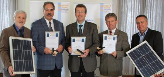 v.l.n.r. Prof. Dr. Wolfgang Seiler (Energiewende Oberland), Josef Höß (Bgm. Holzkirchen), Karl-Heinz Gerbl (Bgm. Schongau), Ingo Remesch (2. Bgm. Weilheim), Manfred Zäh (Energiewende Oberland)