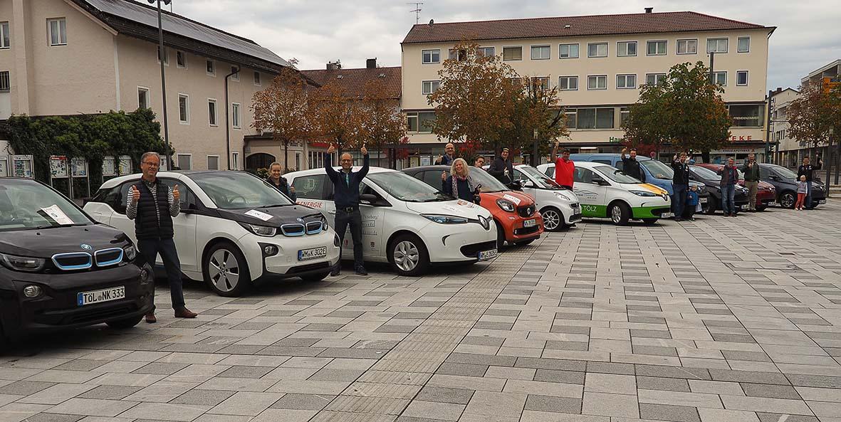 Sternfahrt-Treffen auf dem Rathausplatz in Penzberg