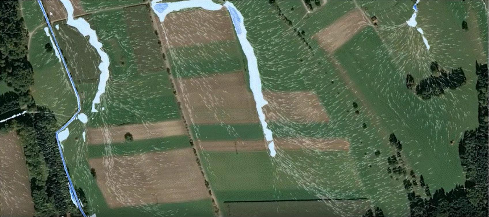 Beispiel einer animierten Ergebnisdarstellung von Wassertiefen und Fließwegen